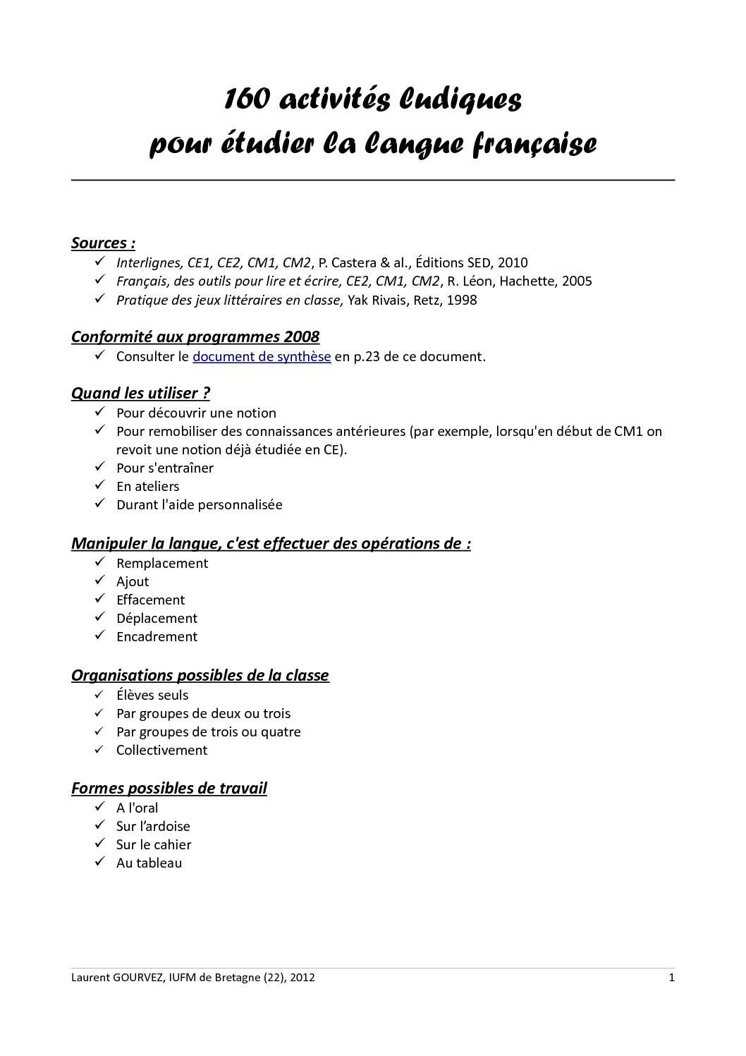 160 activités ludiques pour étudier la langue française