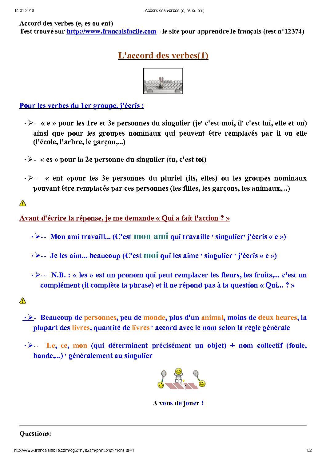 Accord Des Verbes (e, Es Ou Ent)