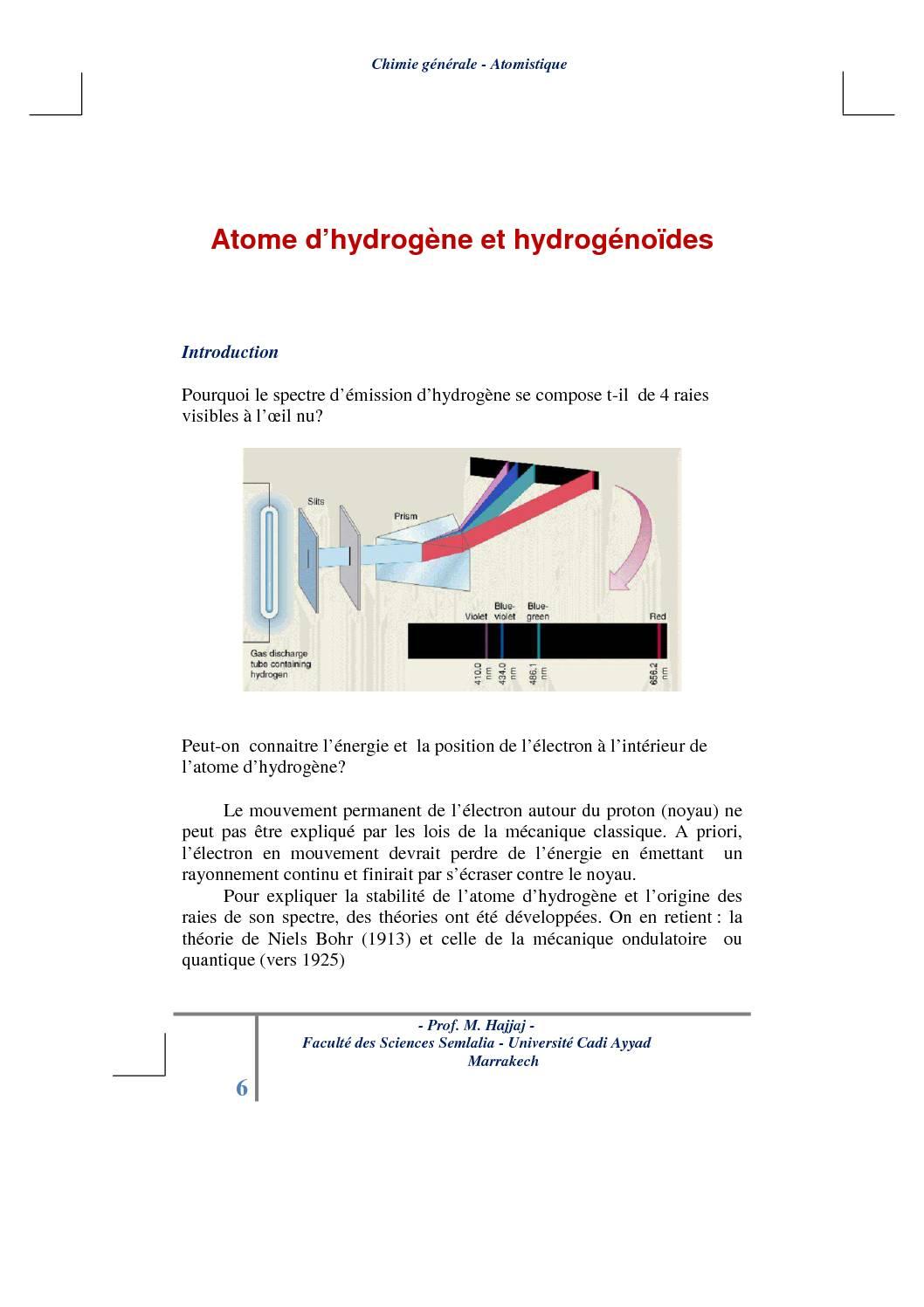 Cours Atomistique : Atome d'hydrogène et hydrogénoïdes