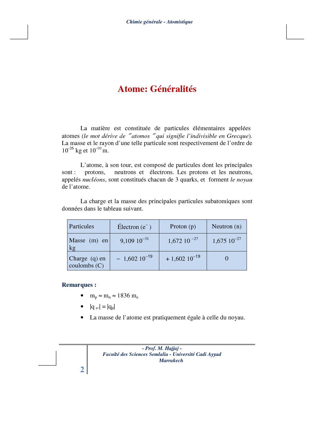 Cours atomistique : Généralités