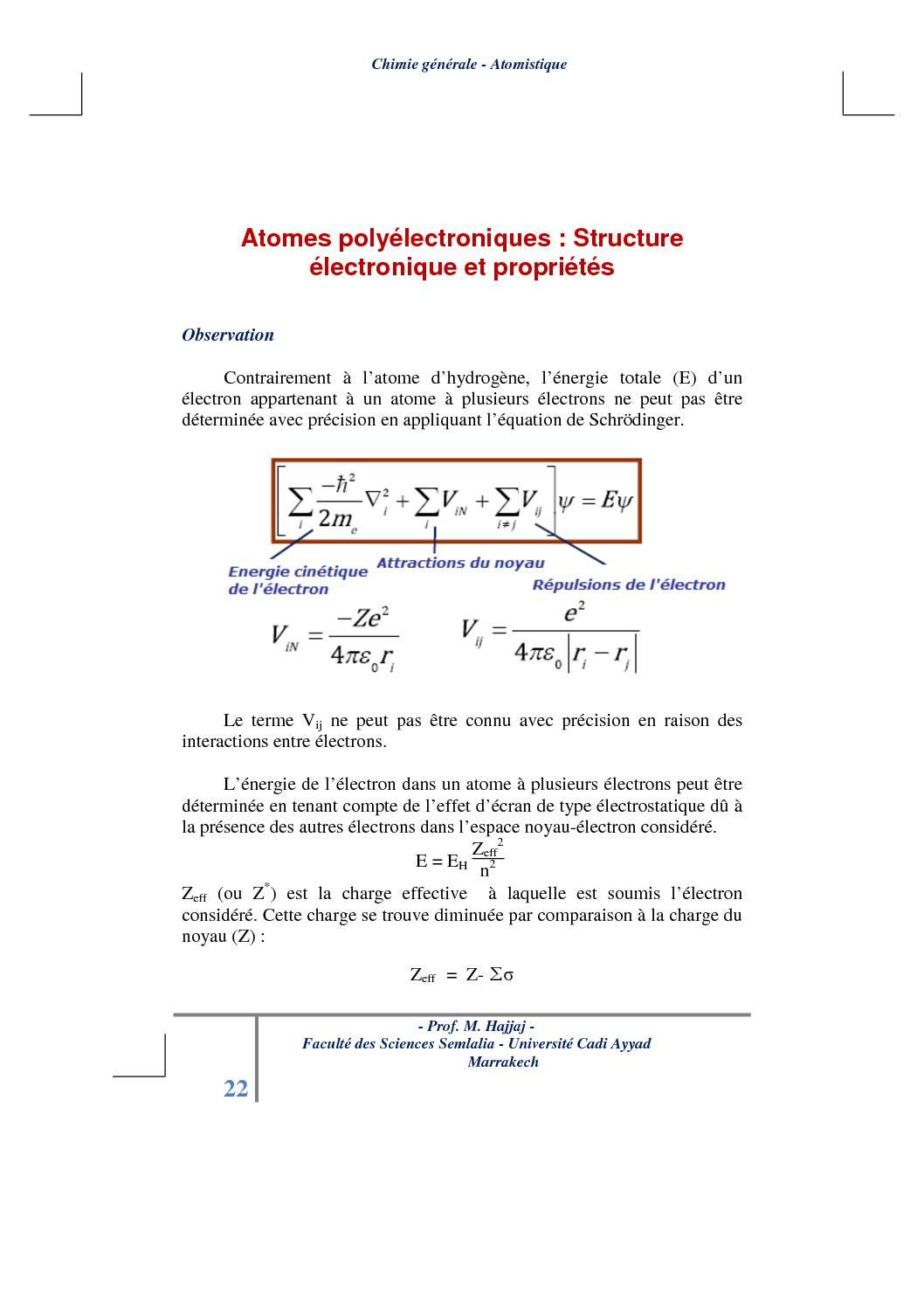 Cours Atomistique : Atomes polyélectroniques