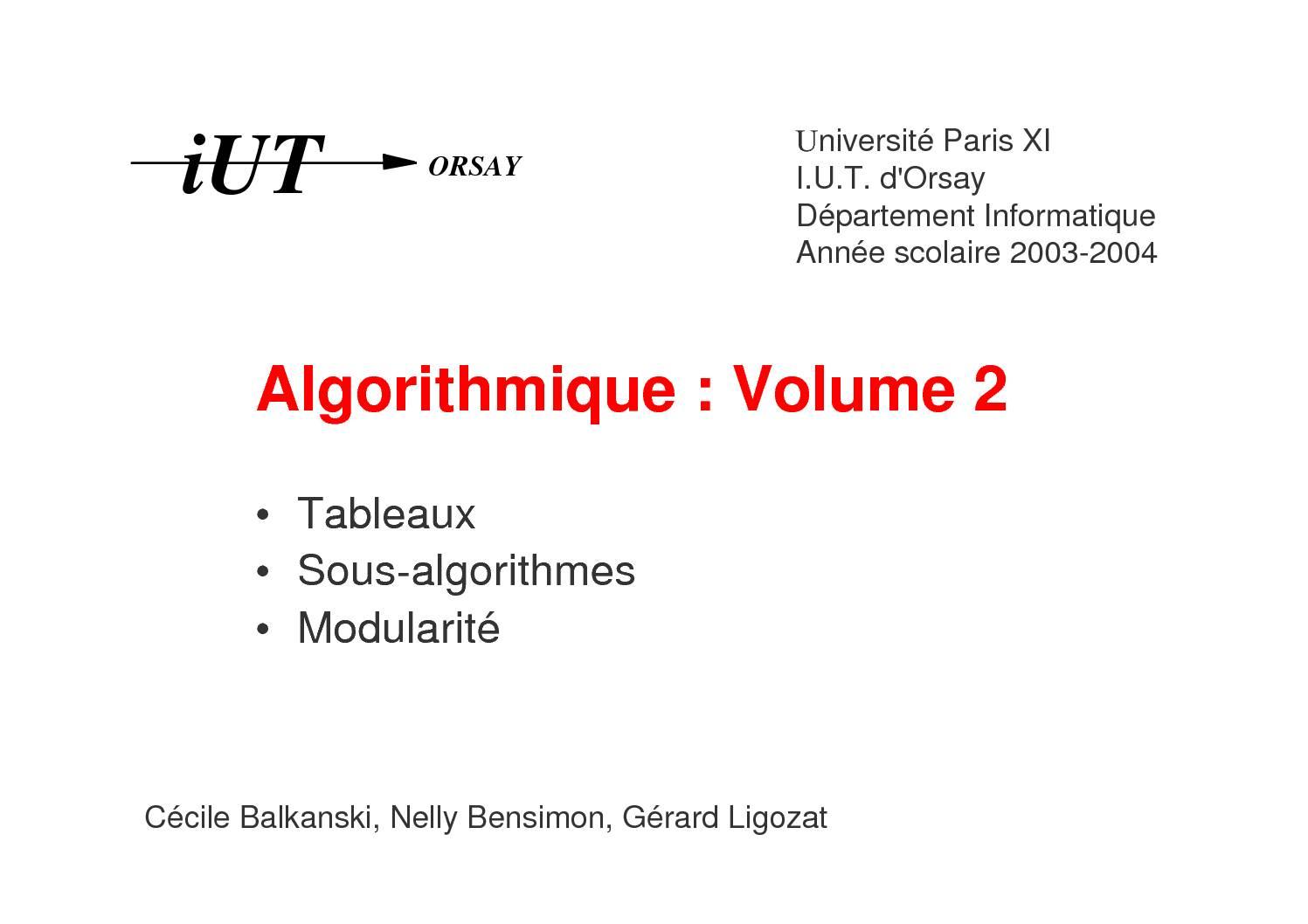 Cours Algorithme