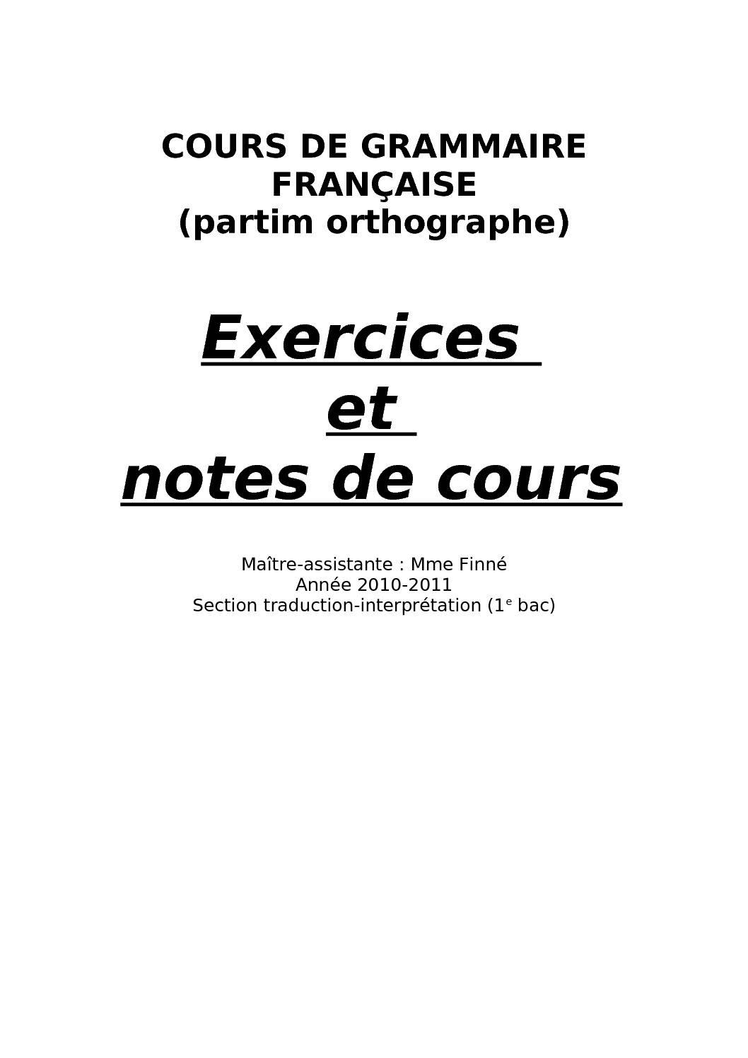 Cours Grammaire Francaise