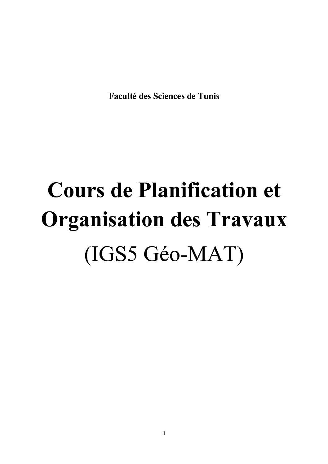 Cours de Planification et Organisation des Travaux