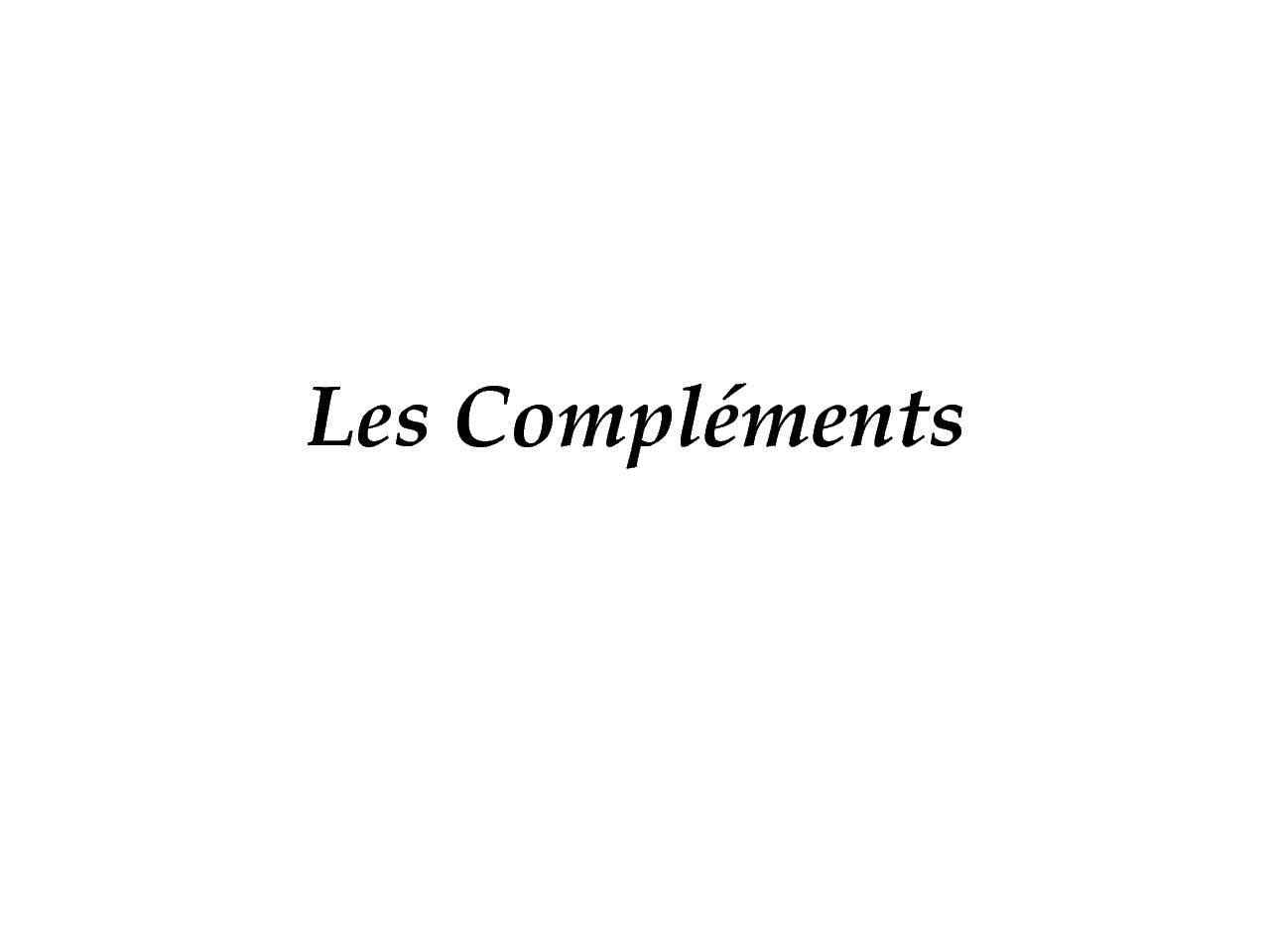 Cours les Complements pdf