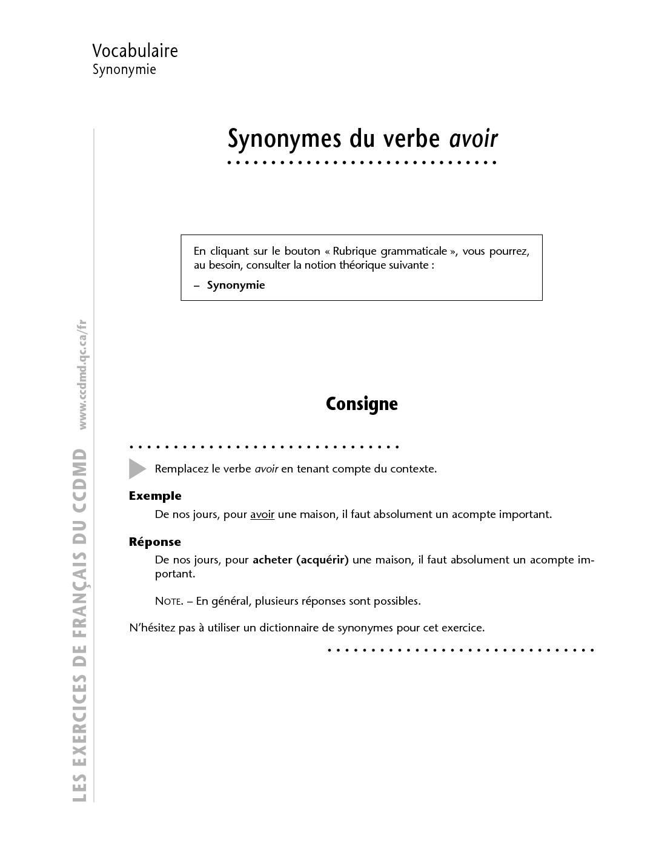 Exercice avec correction Synonymes du verbe avoir