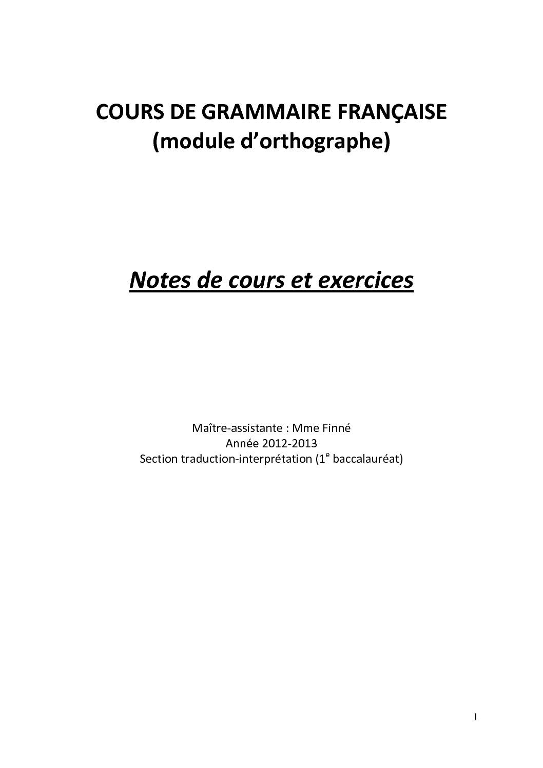 Grammaire française Notes de cours et exercices