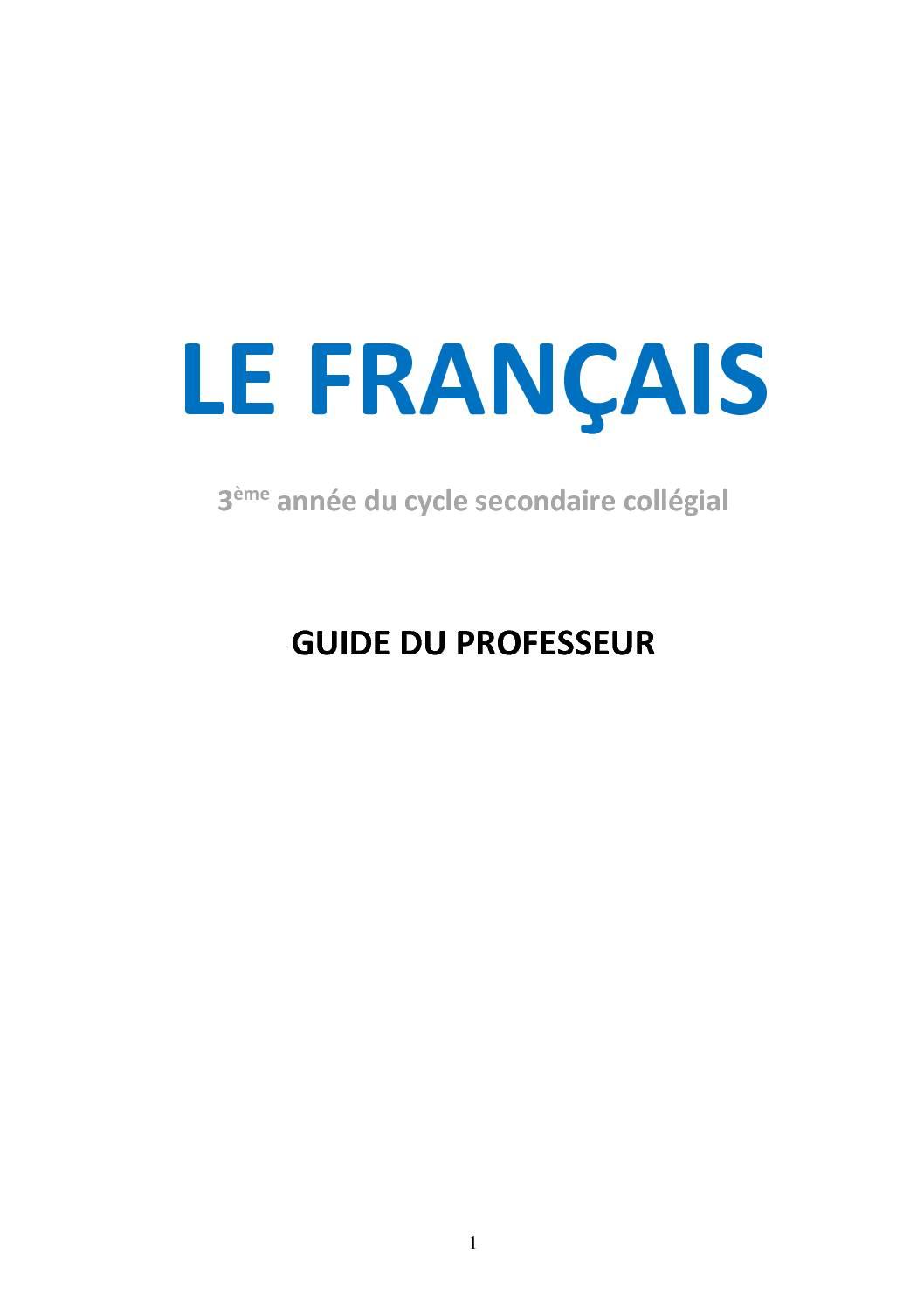 LE FRANCAIS GUIDE DU PROFESSEUR