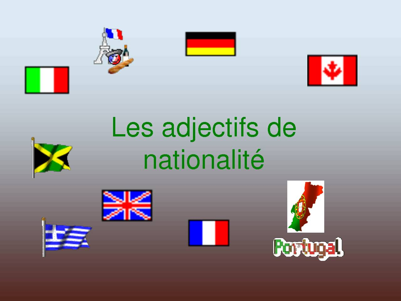 Les adjectifs de nationalité