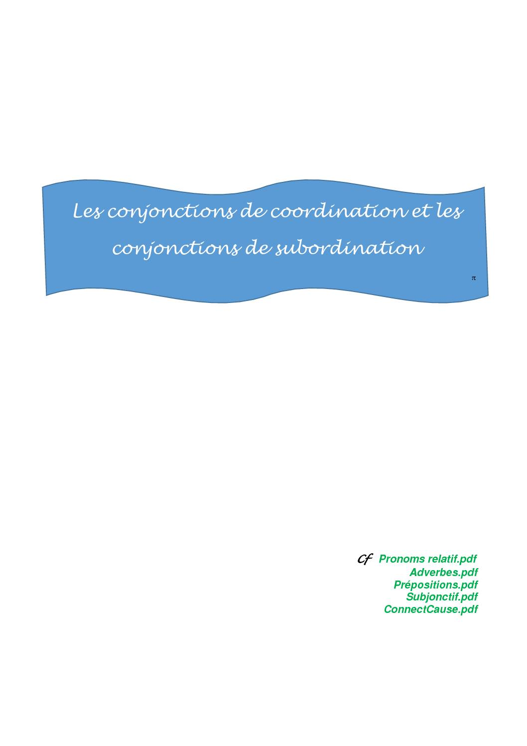 Les conjonctions pdf