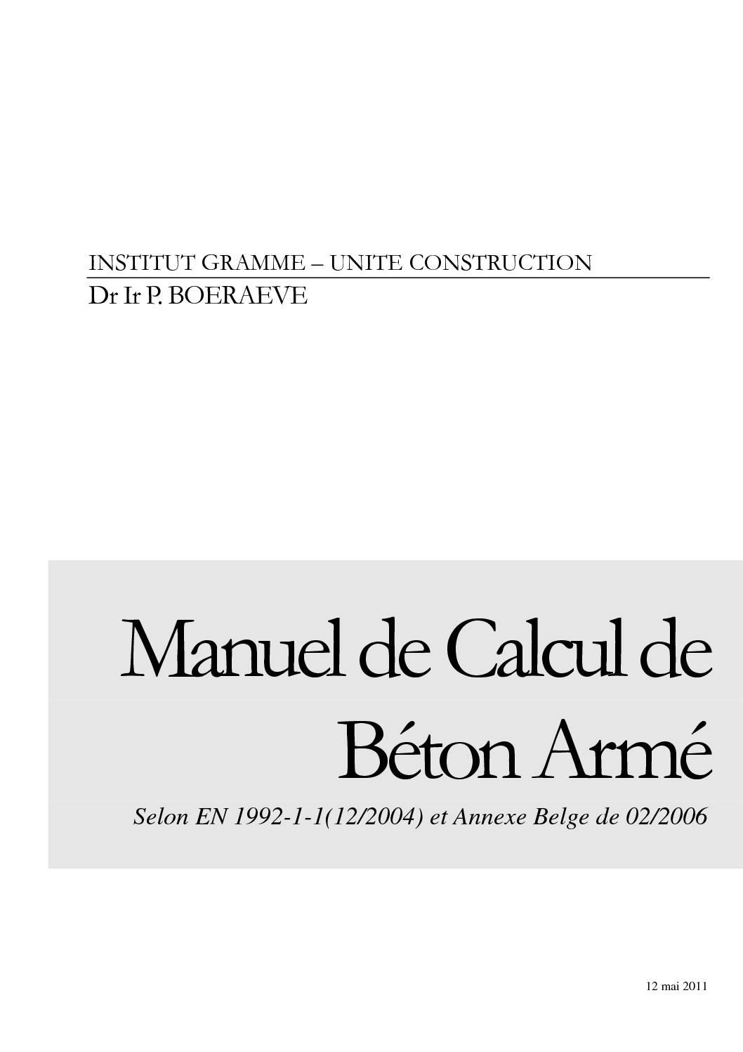 Manuel Calcul Béton Armé