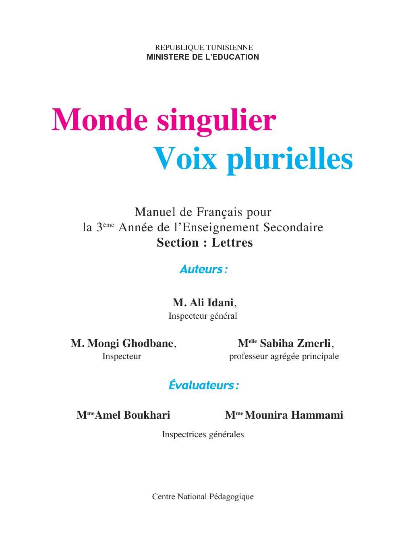 Manuel de Français pour l'Enseignement Secondaire