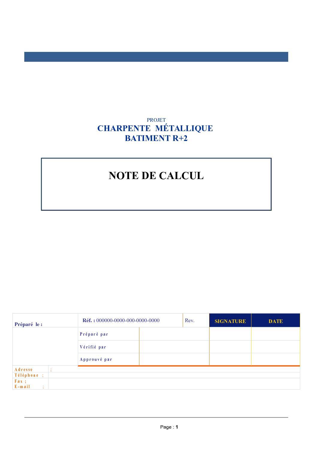 Note de Calcul Charpente Metallique