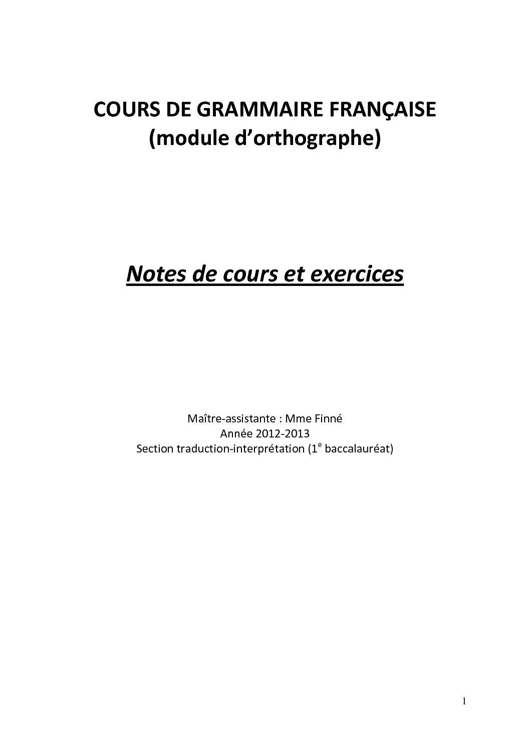 Notes de cours et exercices grammaire