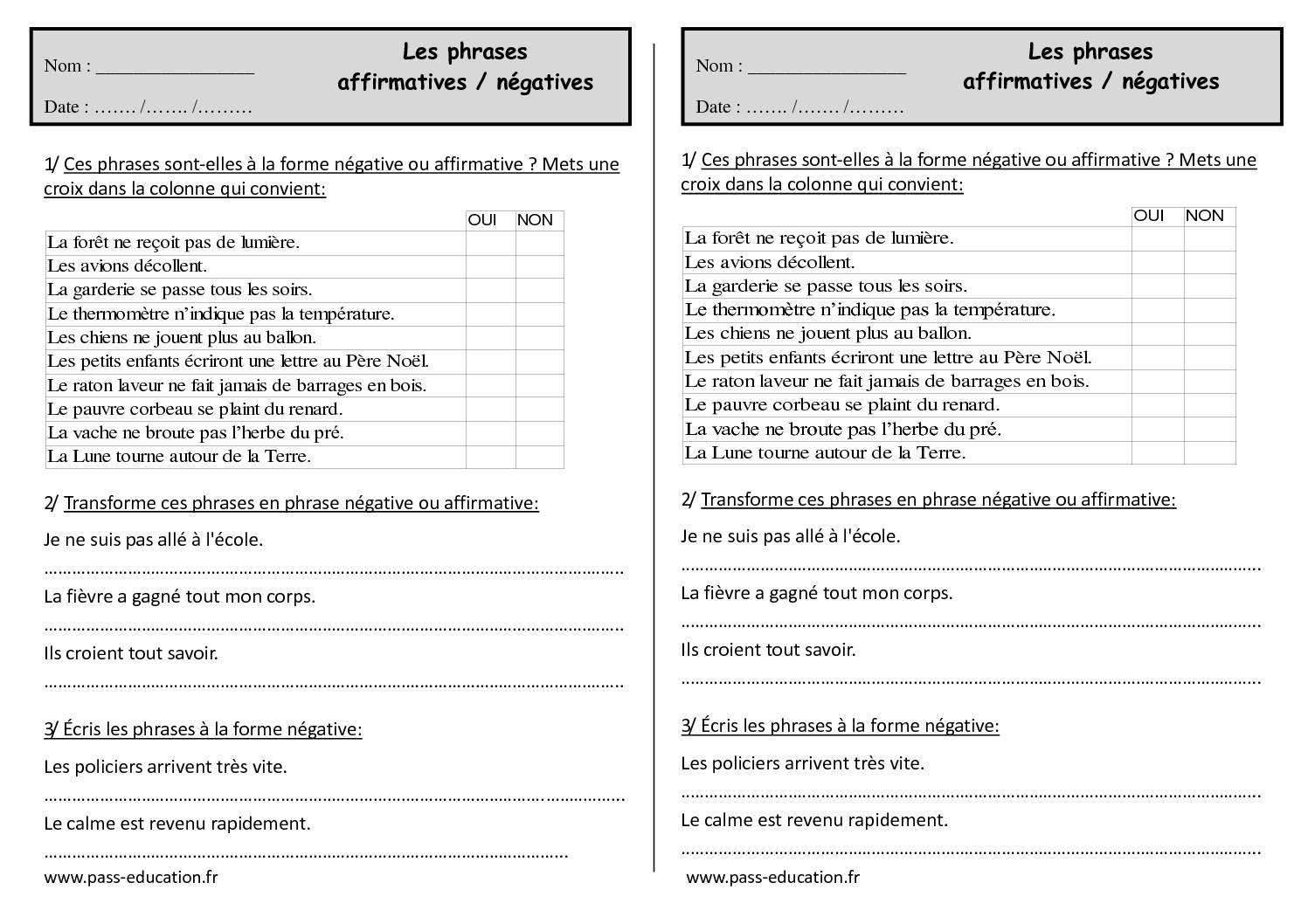 Phrase Affirmative Et Phrase Négative Ce1 Exercices à Imprimer