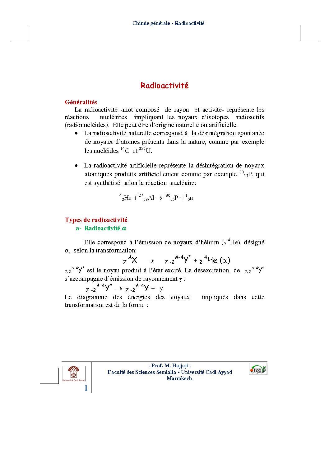 Cours Atomistique : Radioactivité
