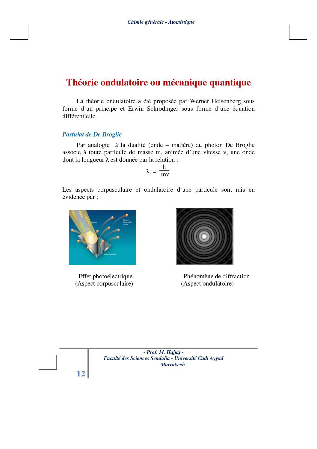 Cours Atomistique : Théorie ondulatoire ou mécanique quantique
