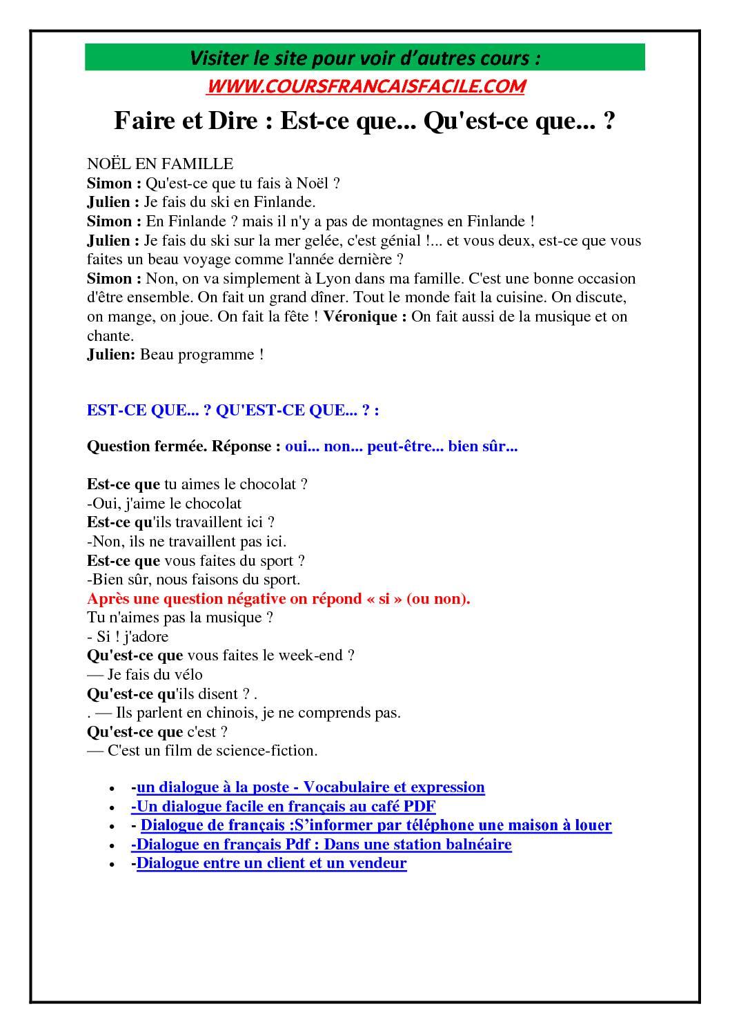 dialogue en français