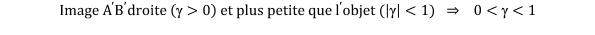 KutoolsEquPic:Image  A ′  B ′ droite  (>0  et plus petite que  l ′ objet ( ( <1)  ⇒   0<(<1