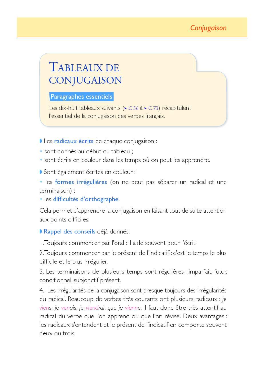 l'essentiel de la conjugaison des verbes Français